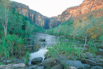 On most Kakadu tour brochures and Kakadu tour intineraries you will see Jim Jim Falls and Twins Falls. It is seasonal access approximatley from late June til october depending of access and crocodiles trapping programs.