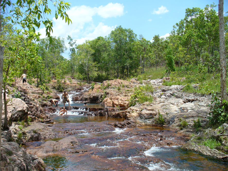 Buley Rockhole is a series of waterfalls and rock-holes,