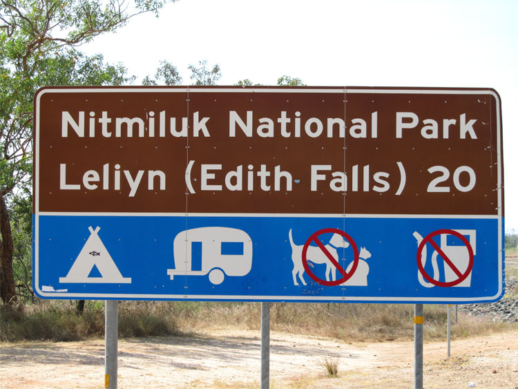 Edith Falls and Nitmiluk katherine gorge australia road sign RSpeld-750